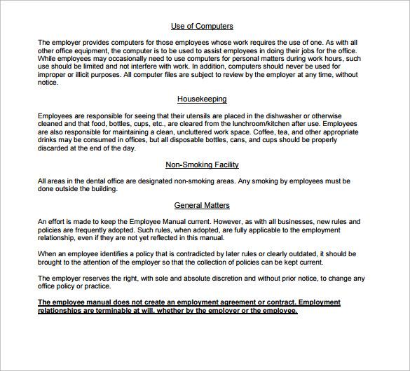 Sample Employee Manual 11Documents In PDF Word