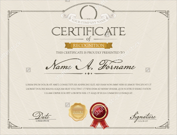 Sample Certificate Of Recognition Template 29 Documents In PDF Word PSD
