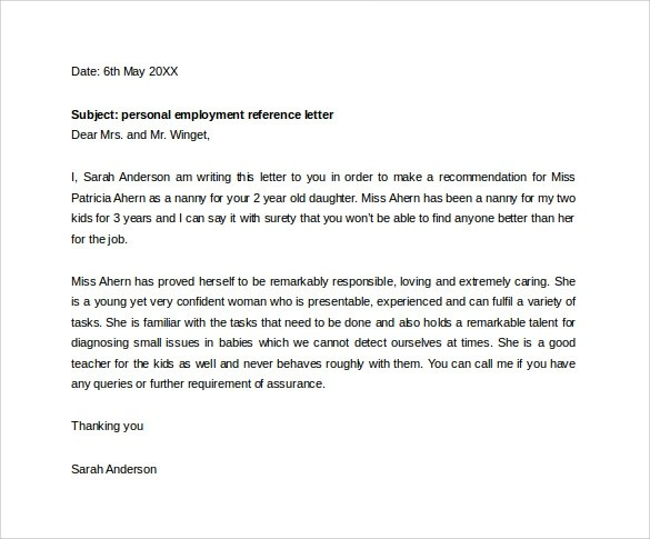 Sample Letter Employment Selection
