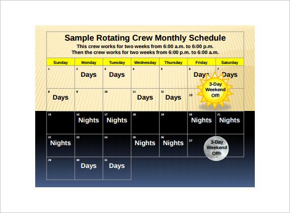 Shift Schedule Calendar Template