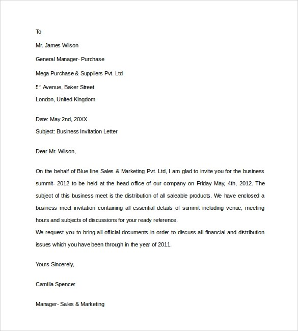 business invitation letter templates in