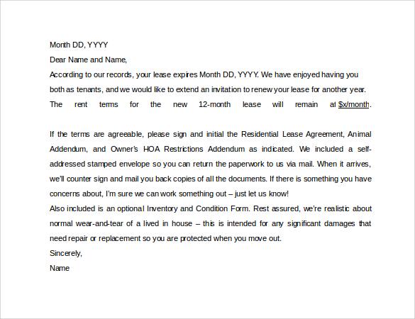 Apartment Lease Renewal Letter Sample  Docoments Ojazlink
