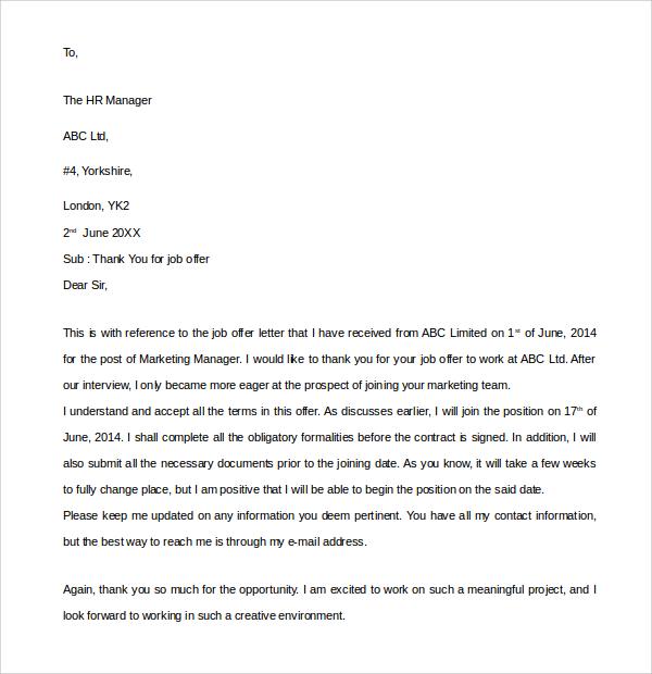 Sample Letter Non Acceptance Of Job Offer - Cover Letter Templates