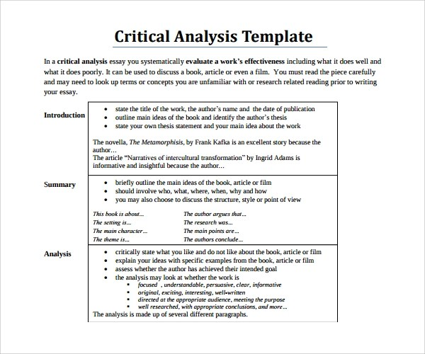 article analysis format
