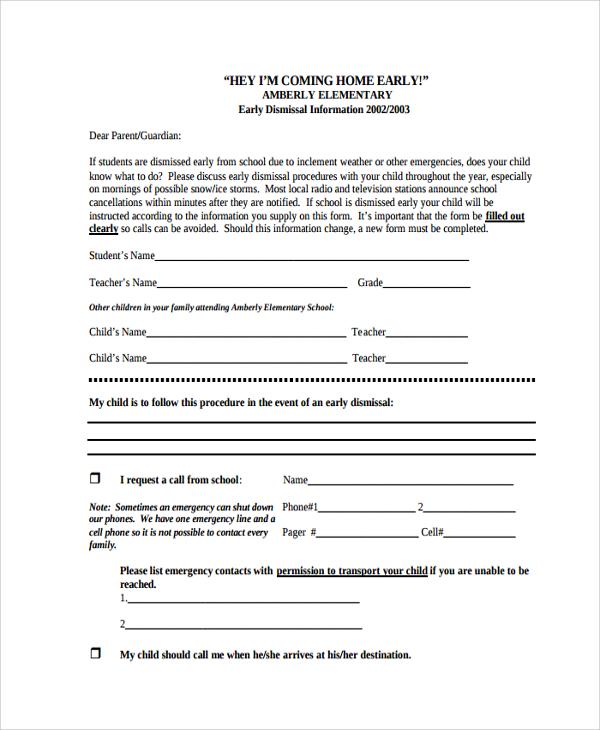 School Early Dismissal Note