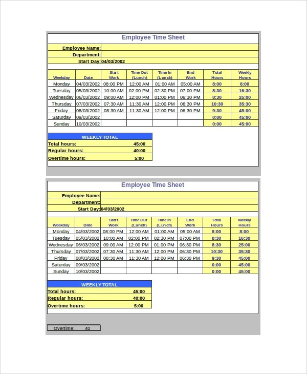 Sample Timesheet Calculator 19 Free Documents Download In Word PDF Excel