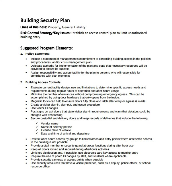 Sample Security Plan Template 11 Free Documents In PDF Word