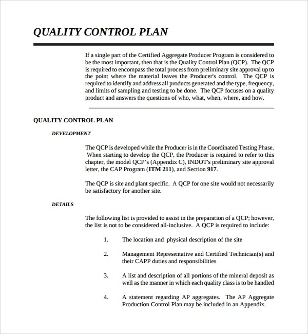 FREE 10+ Sample Quality Control Plan Templates in PDF | MS ...