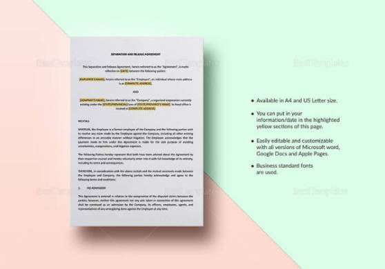 9  Business Separation Agreement Templates   Sample Templates Separation Agreement Template