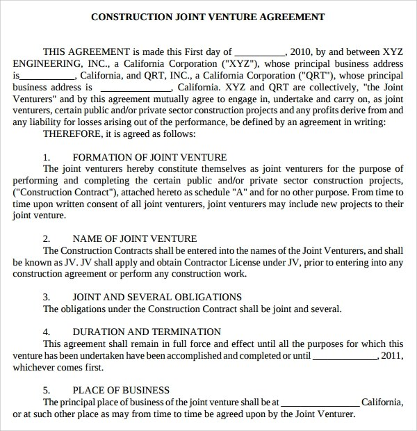This agreement basically states that the other member(s) can choose to buy the other's portion of the venture. Free 9 Joint Venture Templates In Ms Word