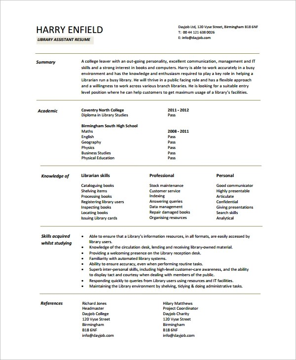 sample librarian resume 9 free doents in word pdf - Librarian Resume Sample
