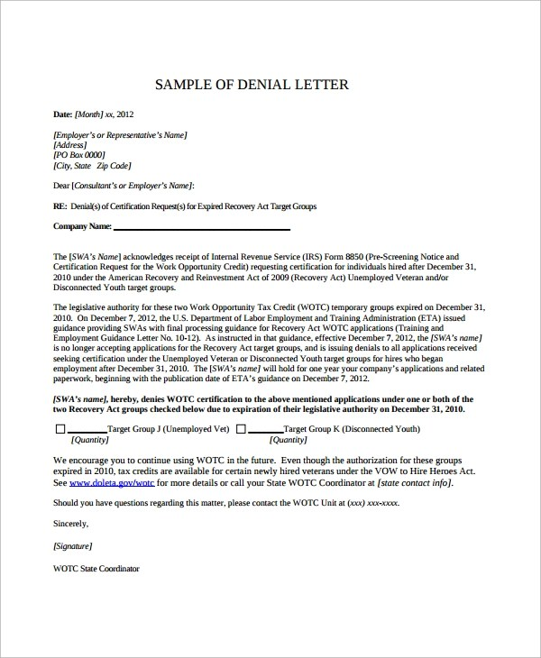 Sample Claim Denial Letter  Docoments Ojazlink