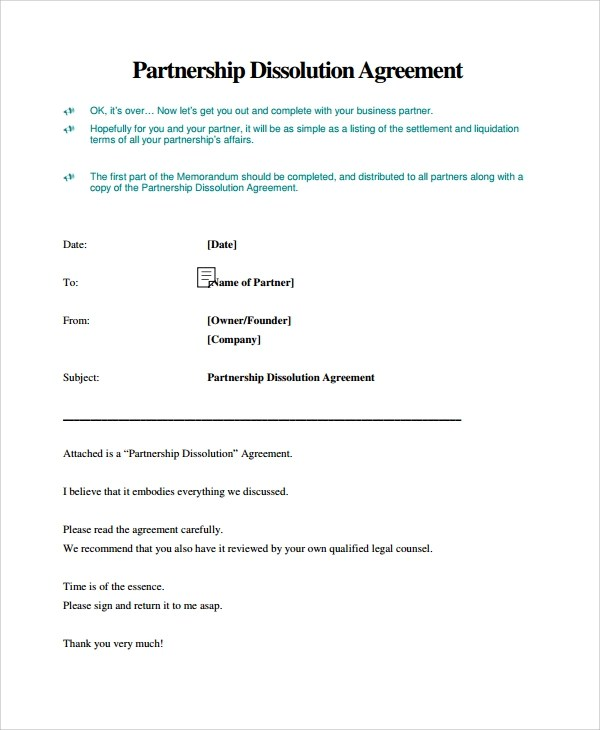 Dissolution Of Partnership Letter  Docoments Ojazlink