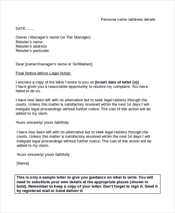 Final Notice Letter Template   Docoments Ojazlink
