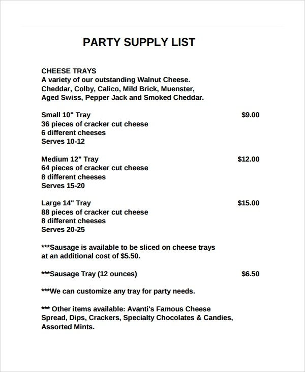 Party Supply List Template