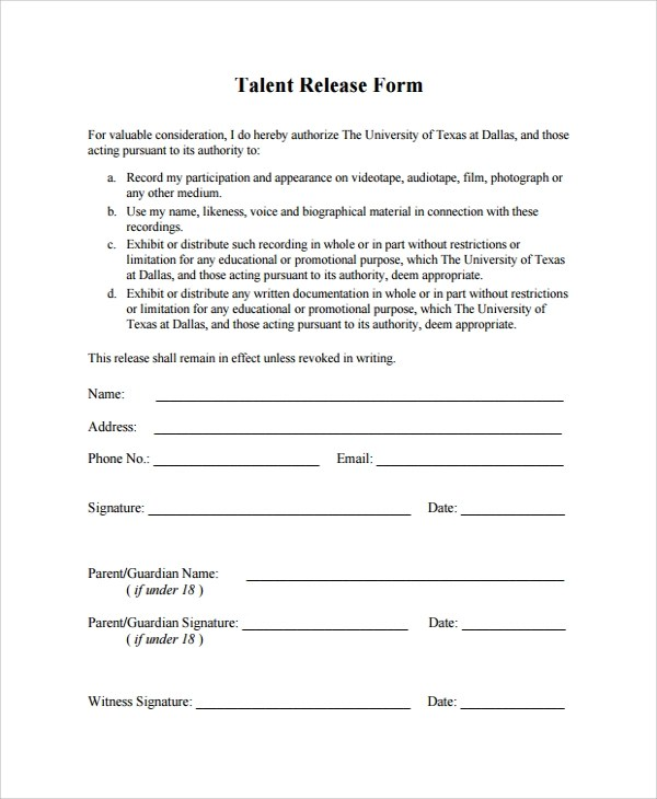 ... Talent Release Form Template Gallery Template Design Ideas ...