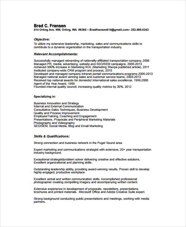 Sample Resume 34 Documents In Pdf Word