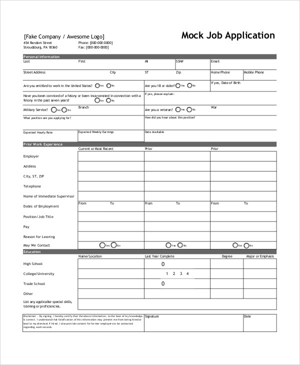Position you are applying for. Free 7 Sample Job Application Forms In Ms Word Pdf
