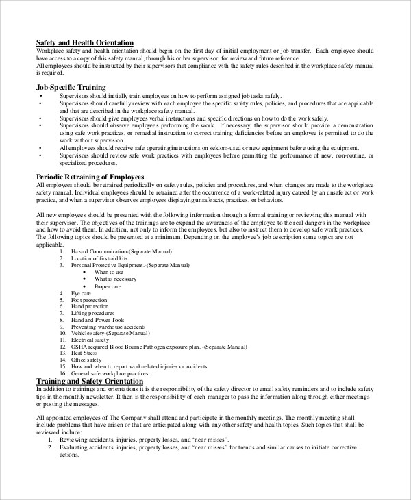 Sample Safety Manual 7 Documents In Word PDF