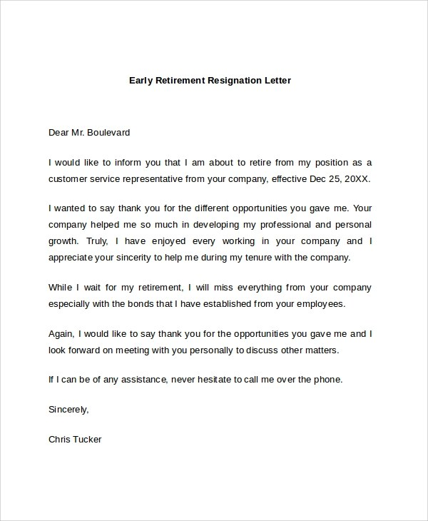 Samples Of Resignation Letters For Retirement | Docoments Ojazlink