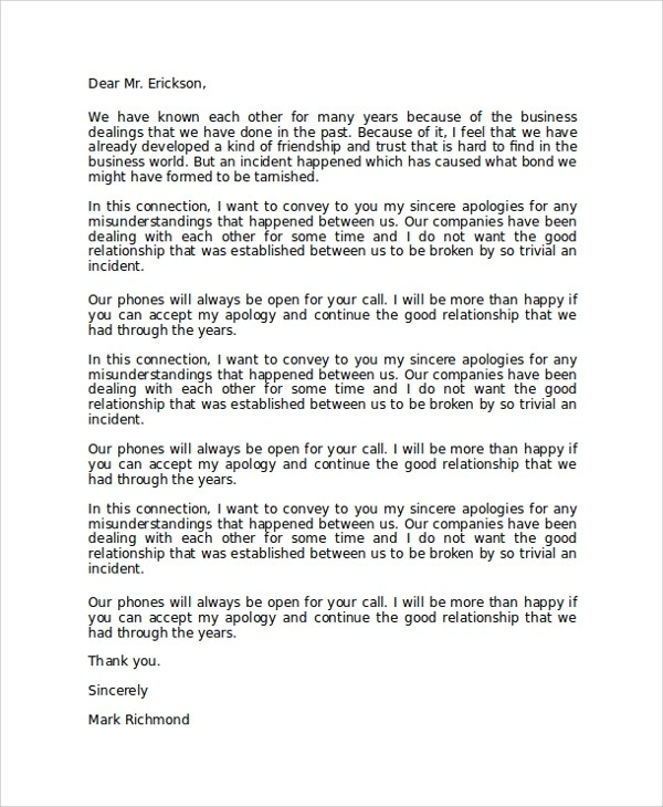 Formal Apology Letter