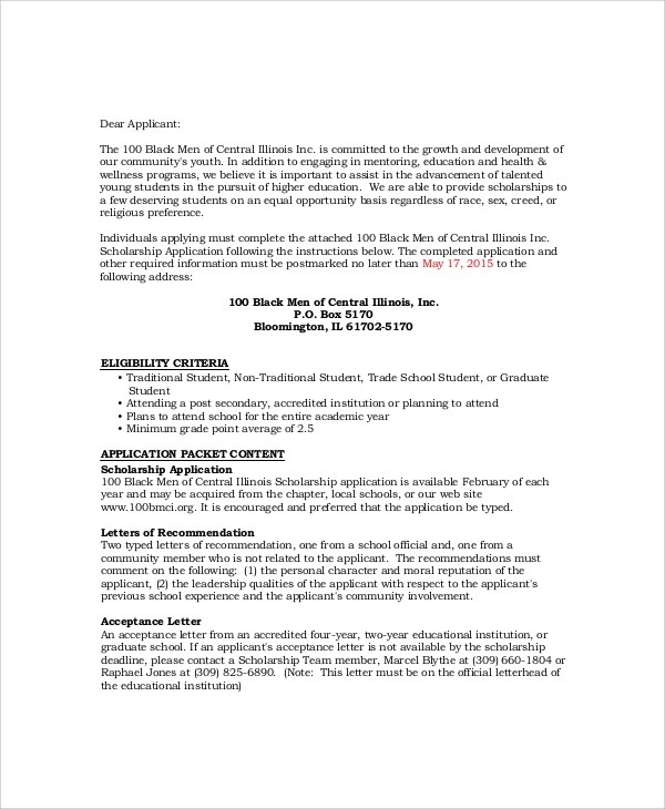 Scholarship Application Letter Sample Pdf  Docoments Ojazlink
