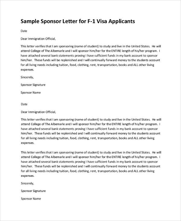 Immigration Sponsorship Letter Visa F1