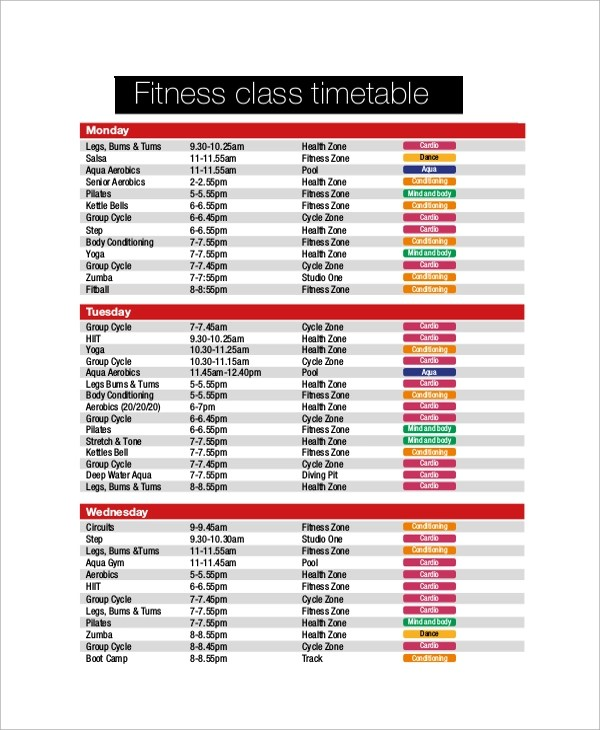 Sample Class Timetable 7 Documents In PDF Word