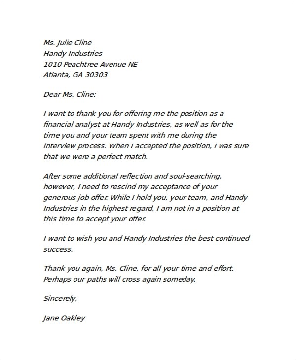 Sample Job Offer Rescind Letter