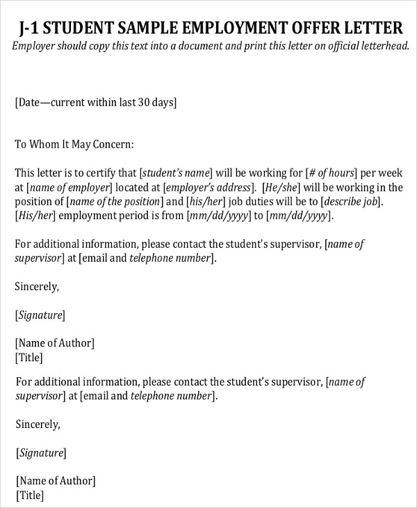 Business Letters EmploymentEmployment Offer Letter Offer Of