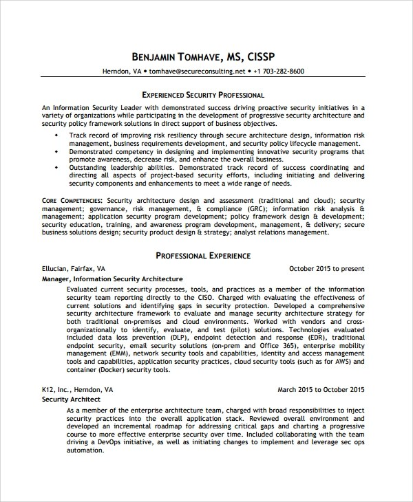 Information Security Resume - Resume Sample