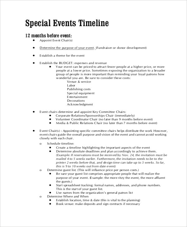 Sample Event Timeline 7 Documents In PDF WORD
