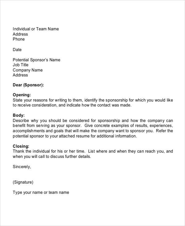 Sponsorship Letter For Sports  Docoments Ojazlink