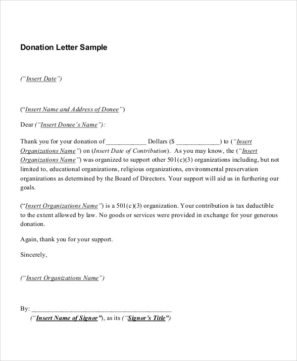 Church Donation Tax Letter Template