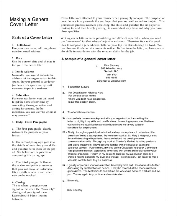 Free 7 Sample Generic Cover Letter Templates In Pdf