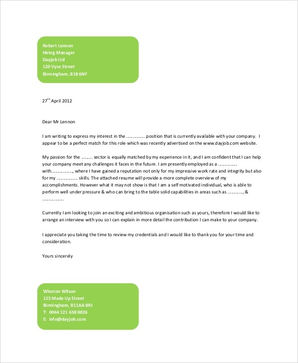 Sample Generic Cover Letter 7 Documents In PDF