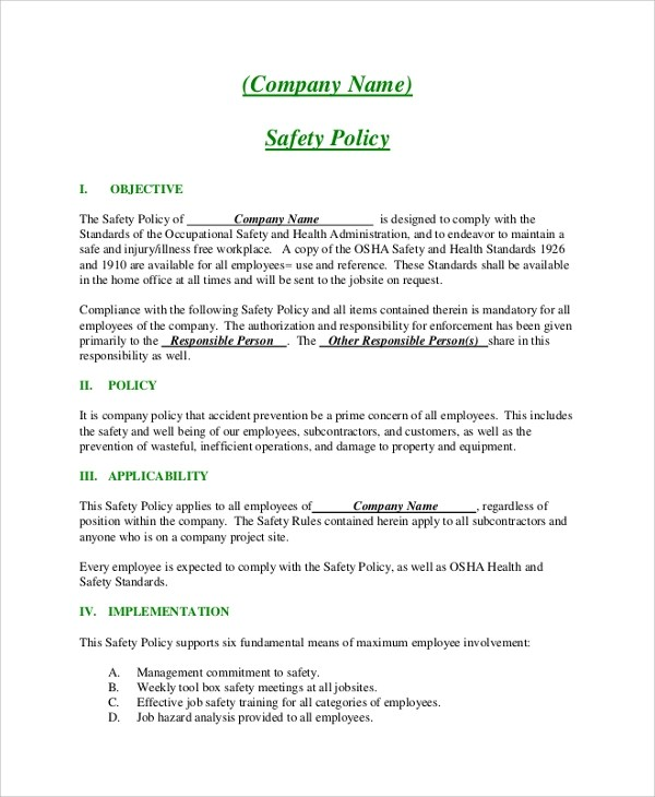 Sample Policy Template