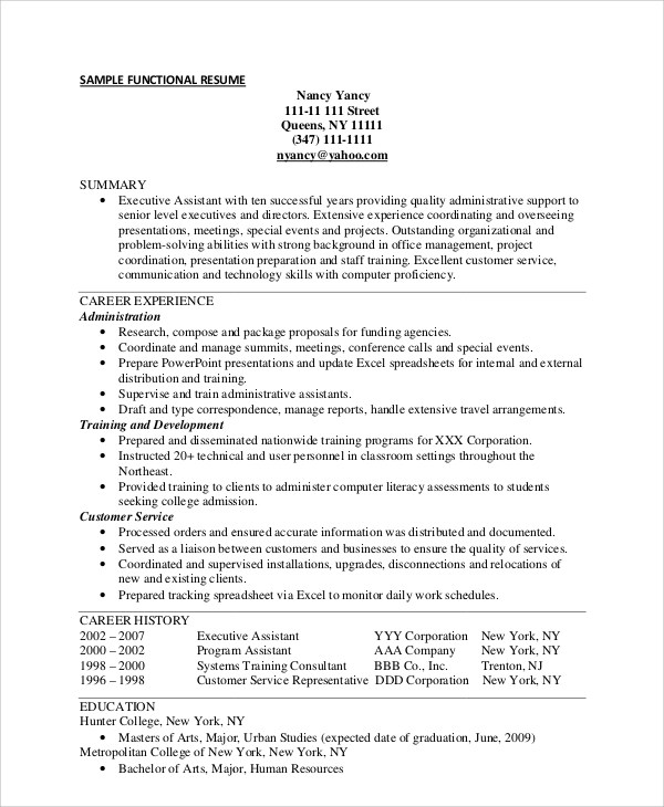 Sample Functional Resume  Resume Sample