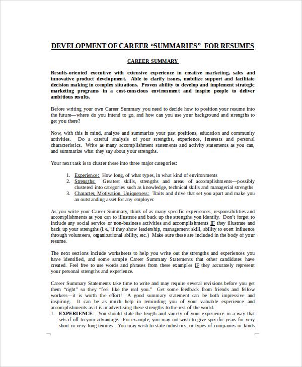 Example Of Career Summary  Resume Career Summary Examples