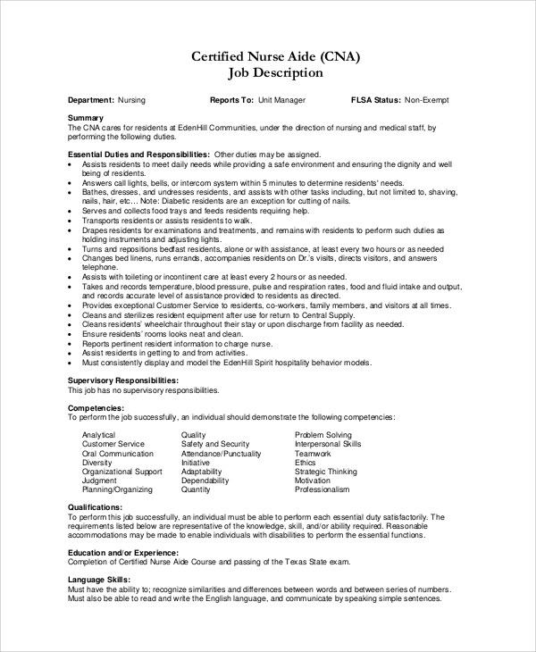 Free 9 Sample Cna Resume Templates In Ms Word Pdf