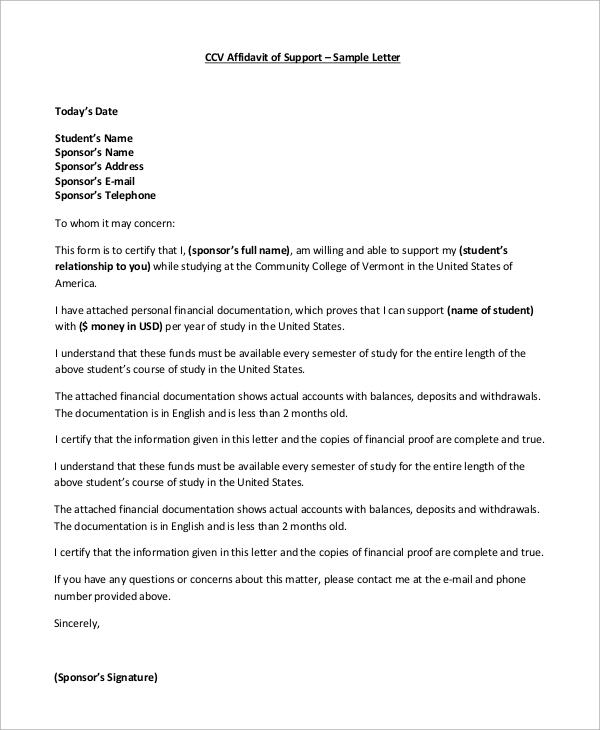 Affidavit Letter Samples Sola Hub Rural Co