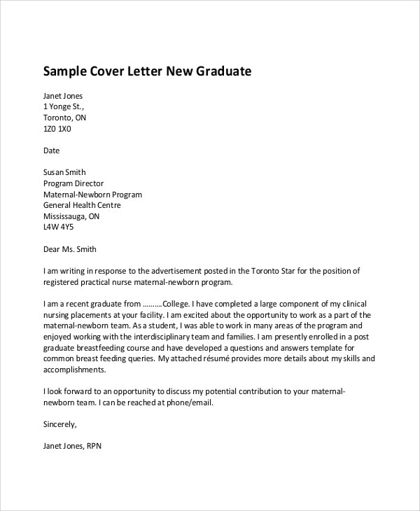 Sample Graduate Nurse Cover Letter cover letter examples for applying for a job