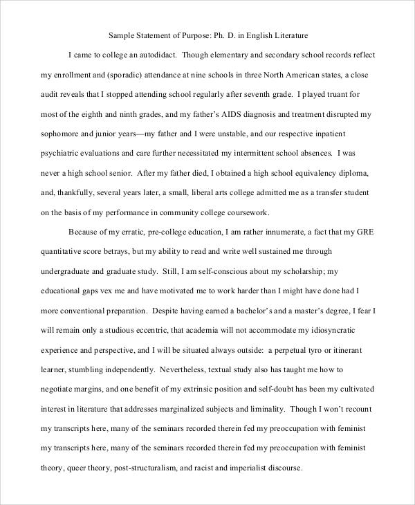 graduate school statement of purpose sample