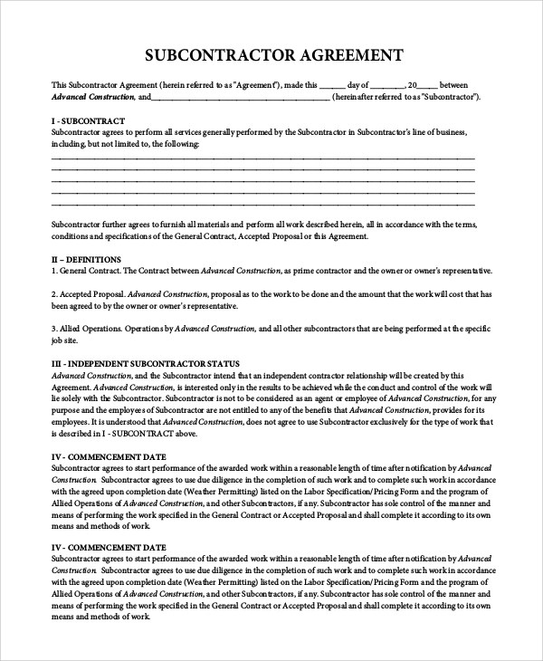 When you have a construction project at your home or business, you want it done right. Free 9 Sample Subcontractor Agreement Templates In Pdf Ms Word Excel