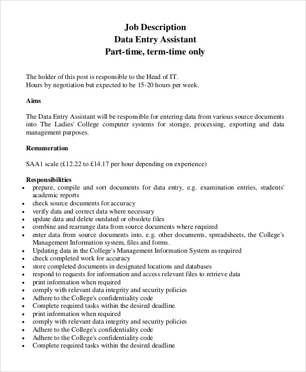 8 Data Entry Job Description Samples Sample Templates
