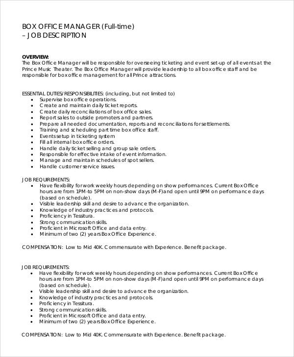 Free 9 Sample Office Manager Job Description Templates In