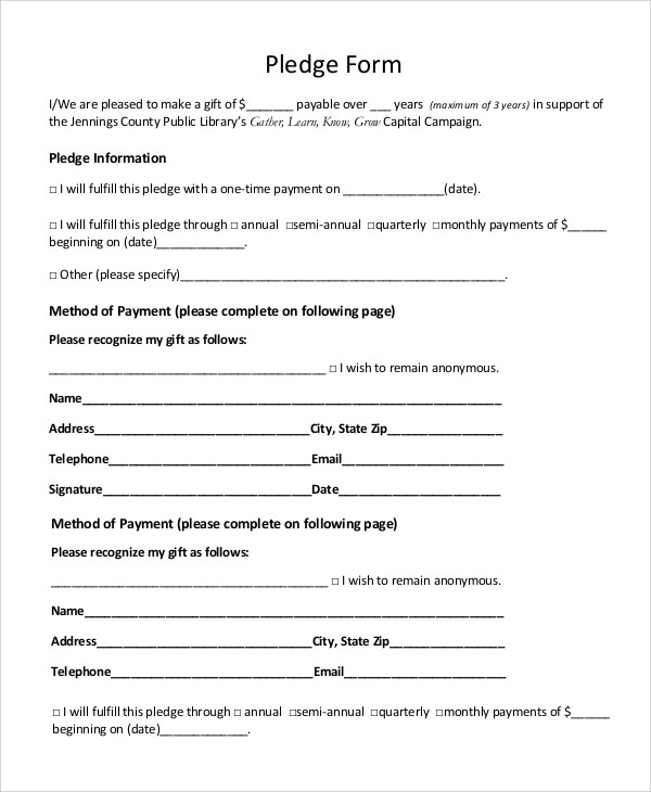 8 Sample Pledge Forms PDF Word