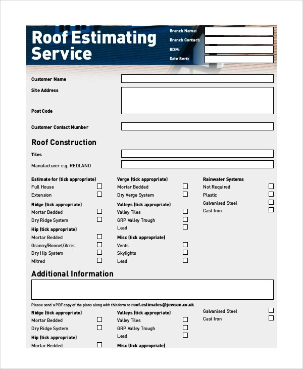 Roofing Estimates Templates Free Download Printable