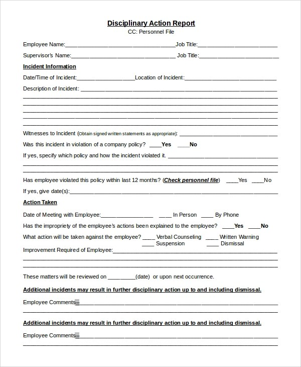 Disciplinary Forms For Students