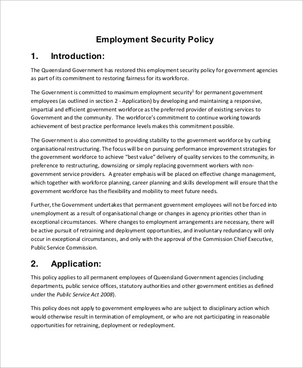 Employment Security Policy Queensland